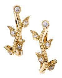 Penny Preville | Metallic Diamond Leaf Hoop Earrings | Lyst