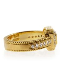 Penny Preville - Metallic Engraved Diamond Pave Square Ring Size 6 - Lyst