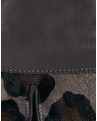 ASOS - Gray Whistles Leopard Trim Leather Gloves - Lyst