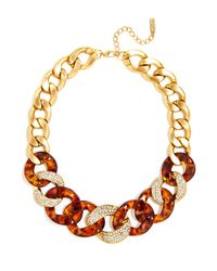 BaubleBar | Metallic Tortoise Crystal Link Necklace | Lyst