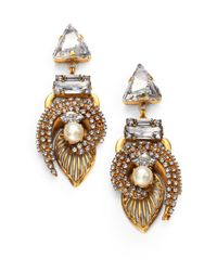 Erickson Beamon | Metallic Dovima Swarovski Crystal Drop Earrings | Lyst