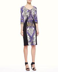 Etro - Blue Airbrush Paisley Panel Dress - Lyst