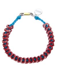 KENZO Red Metal Bolt Necklace