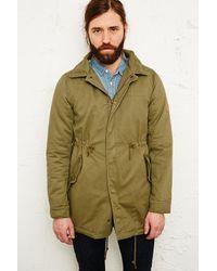 Native Youth Green Sherpa Furlined Hooded Parka Jacket for men