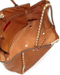 Valentino   Brown Rockstud Medium Pebbled Tote Bag   Lyst