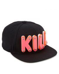 Adeen Black Kill Embellished Twill Cap for men