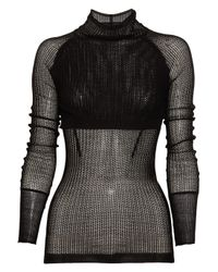 Alexander Wang | Black Double-layer Open-knit Sweater | Lyst
