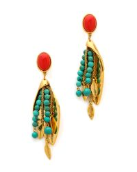 Aurelie Bidermann - Green Clip On Earrings with Turqouise Stones Gold - Lyst