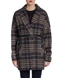 BCBGMAXAZRIA | Brown Plaid Wool blend Belted Coat | Lyst