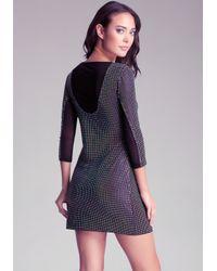 Bebe Black V Neck Studded Dress