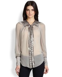 Elizabeth and James | Natural Silk Chiffon Sequintrimmed Blouse | Lyst