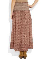 Isabel Marant Red Dave Printed Silk Maxi Skirt