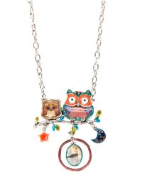 !item | Metallic Double Owl Pendant Necklace | Lyst