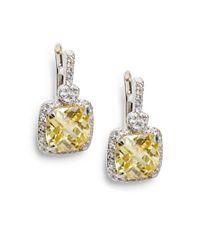 Judith Ripka - White Sapphire-Framed Sterling Silver Yellow Cushion Earrings - Lyst
