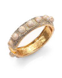 Kara Ross - White Cabochonstudded Cuff Bracelet - Lyst
