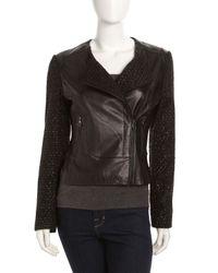 Laundry by Shelli Segal - Asymmetrical Zip Mixed Media Jacket Black Xl - Lyst