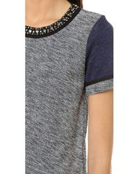Madewell - Gray Colorblock Embellish Neck Sweatshirt Tee - Lyst