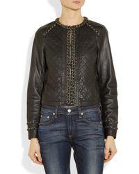 MICHAEL Michael Kors Black Chain Trimmed Leather Jacket