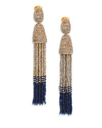 Oscar de la Renta - Metallic Beaded Clipon Tassel Earrings - Lyst