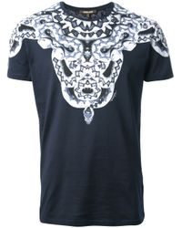 Roberto Cavalli Blue Snake Print Tshirt for men