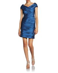 Teri Jon Ruched Taffeta Dress In Sapphire Blue Lyst