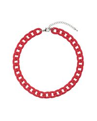 TOPSHOP - Chunky Red Chain Necklace - Lyst