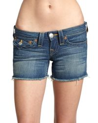 True Religion | Blue Hollowhorn Jayde Super T Boyfriend Shorts | Lyst