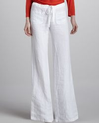 Vince | White Linen Draw-string Beach Pants | Lyst