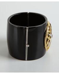 Amrapali - Metallic Black Bakelite Ornate Diamond Bangle - Lyst