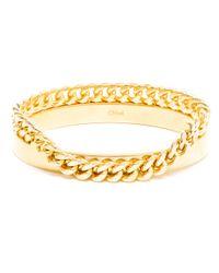 Chloé Metallic Gold Bangle and Chain Bracelet