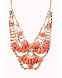 Forever 21 - Red Glam Girl Rhinestoned Bib Necklace - Lyst