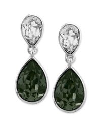 Givenchy | Green Black and White Swarovski Crystal Teardrop Earrings | Lyst