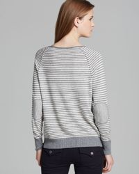 Joie Gray Sweater Tiani Stripe Elbow Patch