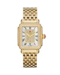 Michele - Metallic Deco Diamond Gold White Pave Dial Watch Head 33mm - Lyst