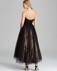 ML Monique Lhuillier - Black Tealength Tulle Over Metallic Lace Gown Strapless - Lyst