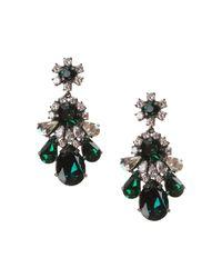 Shourouk | Green Teardrop Crystal Earrings | Lyst