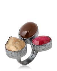 Aamaya By Priyanka - Brown Three Stone Ring - Lyst