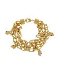 Alexander McQueen Metallic Goldtone Swarovski Crystal Skull Charm Bracelet