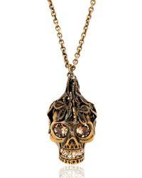 Alexander McQueen | Metallic Skull Swarovski Brass Necklace | Lyst