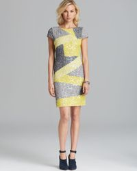 Alice + Olivia Yellow Taryn Color Block Sequin  Dress