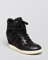 Ash Black Lace Up Wedge Sneakers Beck Bis
