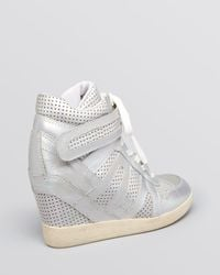 Ash Metallic Lace Up Wedge Sneakers Beck