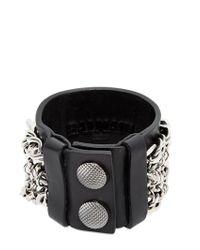 Balmain | Black Metal Chains Leather Bracelet for Men | Lyst