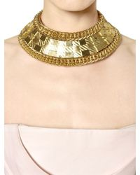 Balmain - Metallic Gold Plated Collar Necklace - Lyst