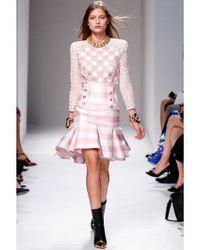 Balmain   Pink Heavy Vichy Twill High Waisted Skirt   Lyst
