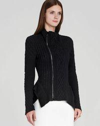 BCBGMAXAZRIA Black Jacket Zanzi Cable Knit Moto
