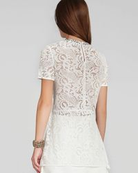 BCBGMAXAZRIA White Harlow Lace Embellished Top