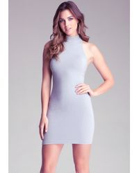 Bebe Metallic Mockneck Shimmer Dress