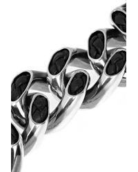 Bottega Veneta Metallic Sterling Silver and Leather Bracelet