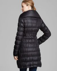 Elie Tahari Black Coat Shelley Belted Down with Double Pillow Collar